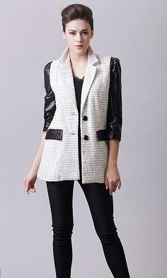 Three-quarter length sleeves women black jacket