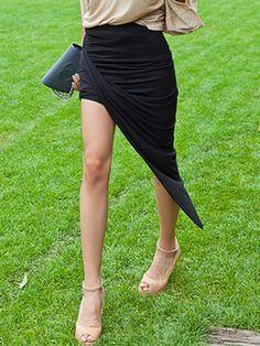 Black, Twist, Asymmetric Hem, stretchable, High Waist, Skirt