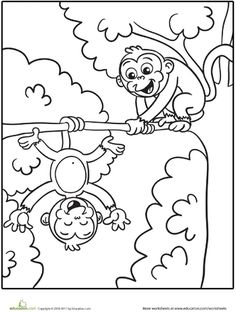 Silly Monkeys Coloring Page WorksheetsWorksheets For KidsKindergarten WorksheetsPrintable