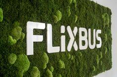 Das Flixbus-Logo integriert in eine große Fläche aus Wald- und Kugelmoos.