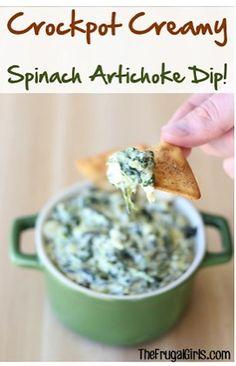 Crockpot Creamy Spinach Artichoke Dip Recipe