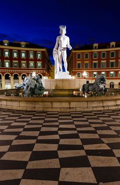 The Fontaine du Soleil on Place Massena, Nice, French Riviera, France