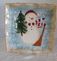 Snowman Square Ceramic Serving Plate Merry Christmas by Maxcera & Maxcera woodland santa merry christmas 16 pc dinnerware set sev. 4 ...