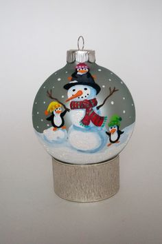 Hand Painted Christmas Ornament: Snowman w/ Penguins II. $25.00, via Etsy.