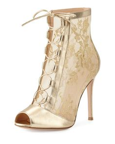 Chantilly lace tie-front bootie gold by Gianvito Rossi Pre-order $1065