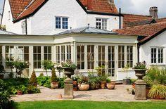 Plants in the Orangery Roof Design, Exterior Design, Interior And Exterior, House Design, Orangery Extension, House Extensions, Kitchen Extensions, 4 Season Room, Conservatory Garden