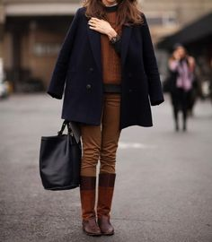 Navy and brown matched with the perfect riding boots