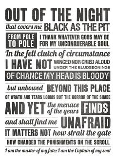 Invictus poem by William Ernest Henley Fate Tattoo, Alpha Fraternity, Inspirational Poems, Inspiring Quotes, Alpha Phi Alpha, Typography Quotes, Amazing Quotes, Life Lessons, Inspirational Quotes