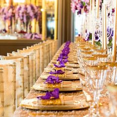 effective are these double charger plates with a phalaenopsis orchid decorating our gold napkins wrapping the menus. Luxury Gala Dinner with  @karentranevents @eventsbynadia @whitehouse_crockery @nassari_john @hotelcaferoyal  @bybrucerussell  #weddingstyling #gold #purple #finedining #attentiotodetail #London #luxury #style #inspirational #diningexperience #celebrations #repost by @bybrucerussell