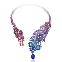 Exquisite new Chopard high jewellery necklace crafted from titanium and set with multicoloured gemstones culminating in a 14ct pear-cut tanzanite.