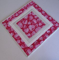 Quilted Valentine Table Topper, Quilted Table Runner Hearts, Valentines Day Table Quilt, Valentine Table Decor, Quilted Candle Mat by ForgetMeNotQuilteds on Etsy