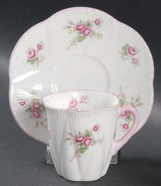 Vintage Fine Bone China Small Tea Cup and Saucer ~ Shelly Rose Spray Pattern. I was given one of these when I was a child. It was broken during one of our moves. I would like to find another set. Small Tea Cups, Glass Kitchen, China Patterns, Bone China, Cup And Saucer, Tea Party, Decorative Plates, Shabby, Child