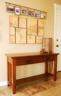 Missionary Display for Church Foyer. BONUS TIP: the map was only 18 cents at the PosterRevolution website Church Foyer, Church Lobby, Architecture Design, Frederique, Bedroom Decor, Wall Decor, Map Canvas, Church Design, Living Room Art