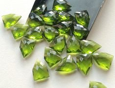 5 Pcs Peridot Hydro Quartz Checker Cut Fancy by gemsforjewels
