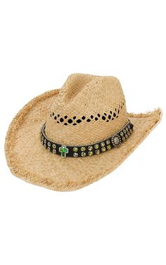 M   F Vented Straw with Crystals and Cross on Black Band Crushable Hat  Vadnyugati Ruhák. Cavender s 6021ef5adf98