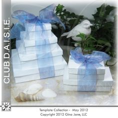 Printable templates for stacking paper boxes with lids. Makes a wonderful gift basket filler.  Great idea for birthday printables, wedding printables and more.Free Printables, Free Graphics, Free Kits, Free Digital Clip Art, Graphics and Backgrounds for Scrapbooking, Gina Jane Designs - DAISIE Company