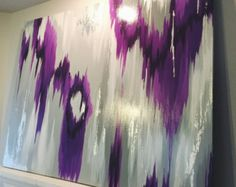 "Items similar to Abstract Art Large Canvas Painting Lavender, White, fuschia, Gold Ikat Ombre Glitter with Glass and Resin Coat 48"" x 48"" real gold leaf on Etsy"