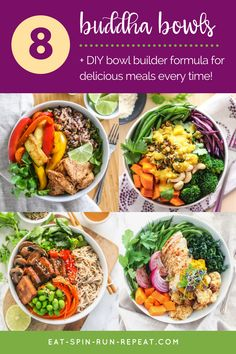 8 delicious, healthy buddha bowl recipes + a buddha bowl builder formula for delicious results, every time! | Angela Simpson, Eat Spin Run Repeat | #mealprep #paleo #healthy #plantbased