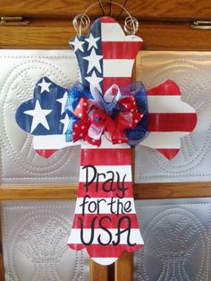 Handpainted  Wood Door Hanger Large Cross Distress American Flag
