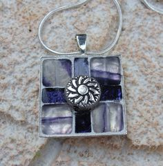 Amethyst Silver Mosaic Pendant Necklace Mosaic Square Silver Swirl on Etsy, $17.00