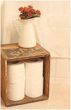 How cute is this storage for toilet paper! Grab a free roll of Scott Extra Soft Tissue at WomanFreebies. com