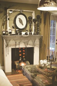 Truly Spooky Halloween Fireplace on Home Architecture Tagged on Truly Spooky Halloween Fireplace. Spooky Halloween, Halloween Fireplace, Halloween Birthday, Halloween Party Decor, Holidays Halloween, Halloween Crafts, Vintage Halloween, Fireplace Mantel, Country Halloween