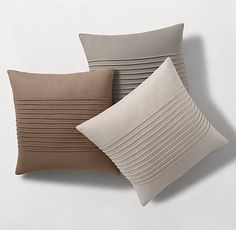 Linen Horizontal Pintuck Pillow Cover by Kelly Hoppen - Square Bed Cover Design, Cushion Cover Designs, Pillow Design, Cute Pillows, Diy Pillows, Decorative Pillows, Throw Pillows, Throw Pillow Cases, Best Pillows For Sleeping