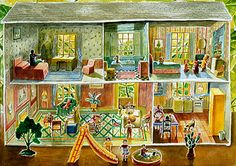Tin Dollhouse with Slide, watercolor on paper  with Slide, by Elena Climent | Source: Mary-Anne Martin, Fine Art