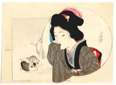 Bijin with puppies, by Tomioka Eisen.