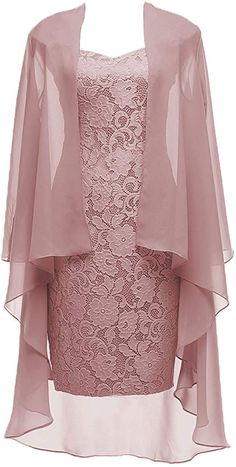 Dusty Pink Short Lace Mother of the Bride Dress with Jacket Formal Gowns at Amaz. - Bridal Gowns Dusty Pink Short Lace Mother of the Bride Dress with Jacket Formal Gowns at Amaz. Formal Evening Dresses, Formal Gowns, Prom Gowns, Formal Prom, Bridal Gowns, Dress Prom, Formal Wear, Dress Formal, Party Dresses