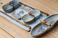 Cerâmica, pottery, petisqueira, conjunto