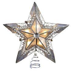 Capiz Silver Lace Star Tree Topper w/ 10 Lights