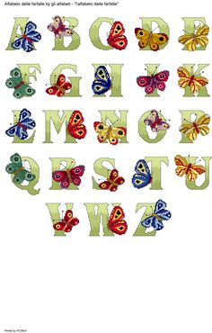 Alfabeto delle farfalle Cross Stitch Alphabet Patterns, Cross Stitch Letters, Stitch Patterns, Elephant Cross Stitch, Pretty Letters, Butterfly Decorations, Alphabet And Numbers, Cross Stitching, Needlepoint