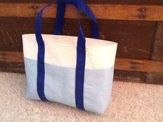 Small multi pocket tote handmade from repurposed main by Sailknot