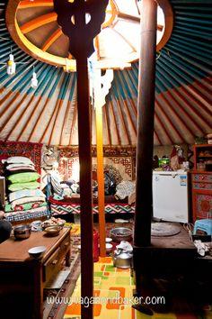 Inside a nomadic family's ger, Mongolia