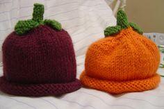 Tuttie Cutie Fruity Hats pattern by Brook Owens Baby Hat Knitting Pattern, Baby Hat Patterns, Baby Hats Knitting, Knitting Patterns Free, Knit Patterns, Knitted Hats, Knitting Ideas, Knitting Projects, Crochet Projects