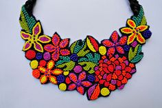 Colorful beaded flower necklace The Bouquet MADE TO by MalvineLV