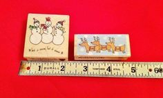 Two HAMPTON ART STAMPS CHRISTMAS*Reindeer + Let it Snow*Wood mount Rubber stamp* $10 with FREE shipping US