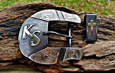 Western ranger belt buckle two piece set with segmented overlay. BluegrassEngraving.com.