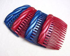 Vintage hair combs 4 celluloid hair accessories mid century decorative hair comb hair jewelry (XYC)