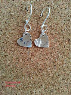 Dangle Heart Sterling Silver Earrings Valentine's by flowerpecker