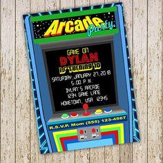 Arcade Party Invitation Digital Printable Invite For Girls Arcade