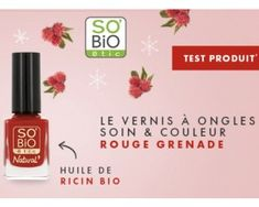 A tester gratuitement, le vernis à ongle soin  et couleur SOBIO ETI Cnd Shellac, Grenade, Uv Gel Nail Polish, Nail Care, Castor Oil, Color, Gifts