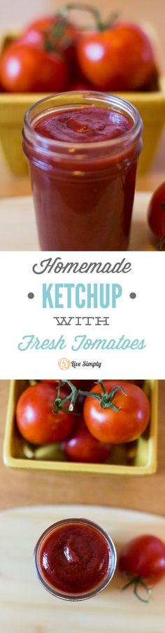 Fresh homemade ketchup without the nasty ingredients or processed sugar! Just place the ingredients in the pan, cook, and blend!
