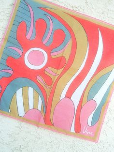 Psychedelic Mermaid - a collector's favorite, vintage 1960s Vera Neumann hand-painted pure cotton scarf