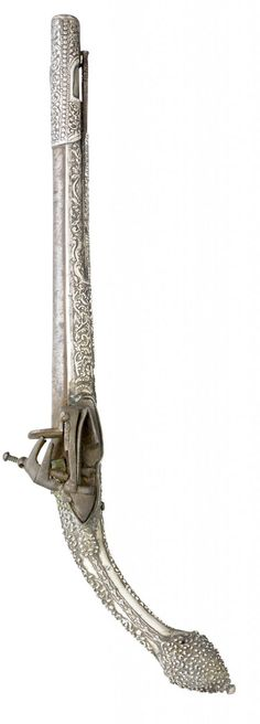 A silver mounted miquelet pistol originating from Albania, early 19th century.