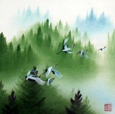 "chinese painting landscape crane 16x16"" oriental traditional asia art brush ink | eBay"