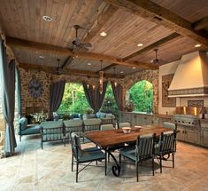Country Porch with Sweetman 7 Piece Outdoor Dining Set with Cushion by Brayden Studio, Carlton Fieldstone Tall Panels