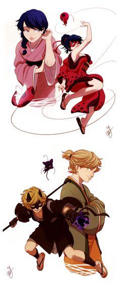 Edo Era Ladybug and Chat Noir (Miraculous Ladybug)