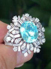 18K GOLD 6.85 CT. GIA CERTIFIED UNHEATED BLUE PARAIBA TOURMALINE DIAMOND RING!!